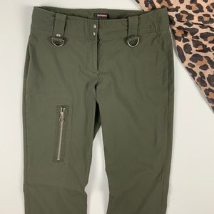 Express Pants - Express Olive Pants w/ Zippers + Hardware Military
